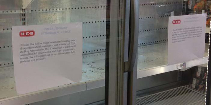 Empty freezer cases seen at an H-E-B store in Houston. (KTRK-TV)