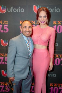 KXTN's Baby J & Univision's La Flaca at 2015 Tejano Music Awards Purple Carpet. (Ryan Bazan / Tejano Nation)