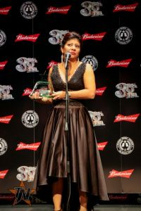 Yvonne Ramos from Yvonne Y Fuego after her win for Best New Female Artist at the 2015 Tejano Music Awards. (Ryan Bazan / Tejano Nation)
