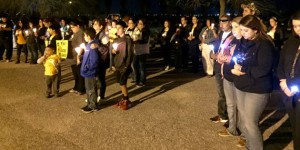 Fans gather at a prayer vigil for Jacob Turner of Siggno at KSAB Studios in Corpus Christi, Texas on Feb. 25, 2016. (KSAB)
