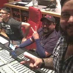 Lucky Joe and Johnny Lee Rosas collaborating on music at Freddie Records studios. (Facebook / Jesse Solis)