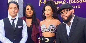 From left to right: Chris Perez, Suzette Quintanilla and AB Quintanilla at Madame Tussauds Hollywood unveiling of Selena was figure. (Facebook)