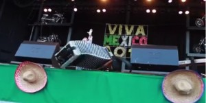 Sunny Sauceda's accordion flies off stage during performance. (Leticia Diaz | Facebook)