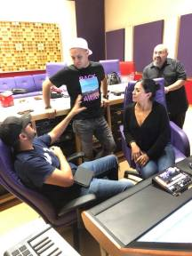 Lucky Joe and Elida Reyna with Lalo Reyna III and recording engineer Eli Molina in studio. Photo: Freddie Records Facebook