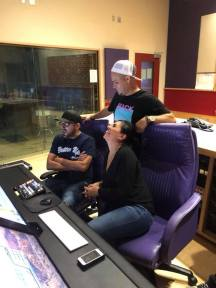 Lucky Joe and Elida Reyna with Lalo Reyna III in studio. Photo: Freddie Records Facebook